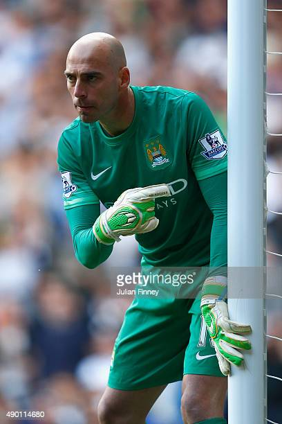 Wilfredo Caballero of Manchester City shouts instructions during the Barclays Premier League match between Tottenham Hotspur and Manchester City at...