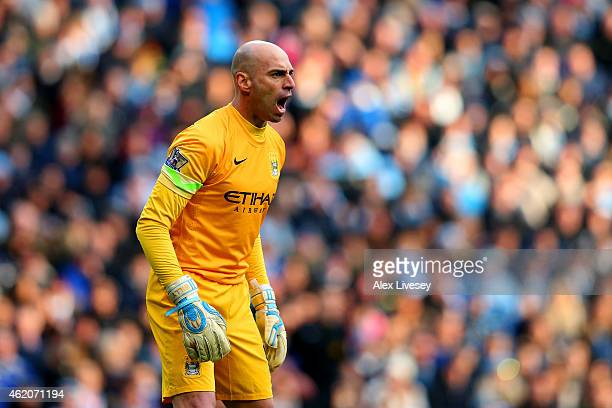 Wilfredo Caballero of Manchester City shouts to his teammates during the FA Cup Fourth Round match between Manchester City and Middlesbrough at...