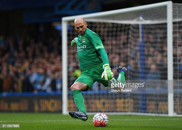 Wilfredo Caballero of Manchester City takes a goal kick during The Emirates FA Cup fifth round match between Chelsea and Manchester City at Stamford...