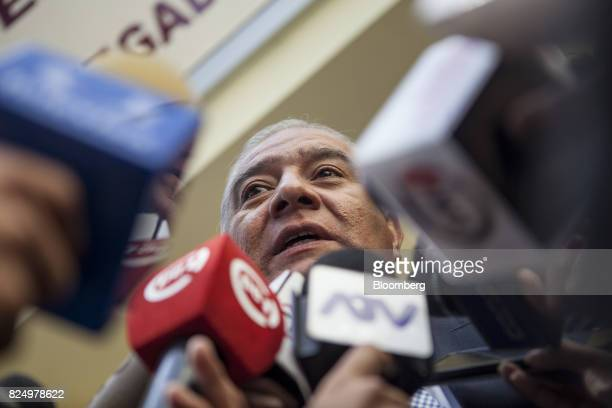 Wilfredo Pedraza attorney for former Peruvian President Ollanta Humala's wife Nadine Heredia speaks to members of the media before a hearing outside...