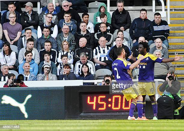 Wilfreid Bony of Swansea Celebrates with teammate Jordi Amat after scoring the equalizing goal during the Barclays Premier League match between...