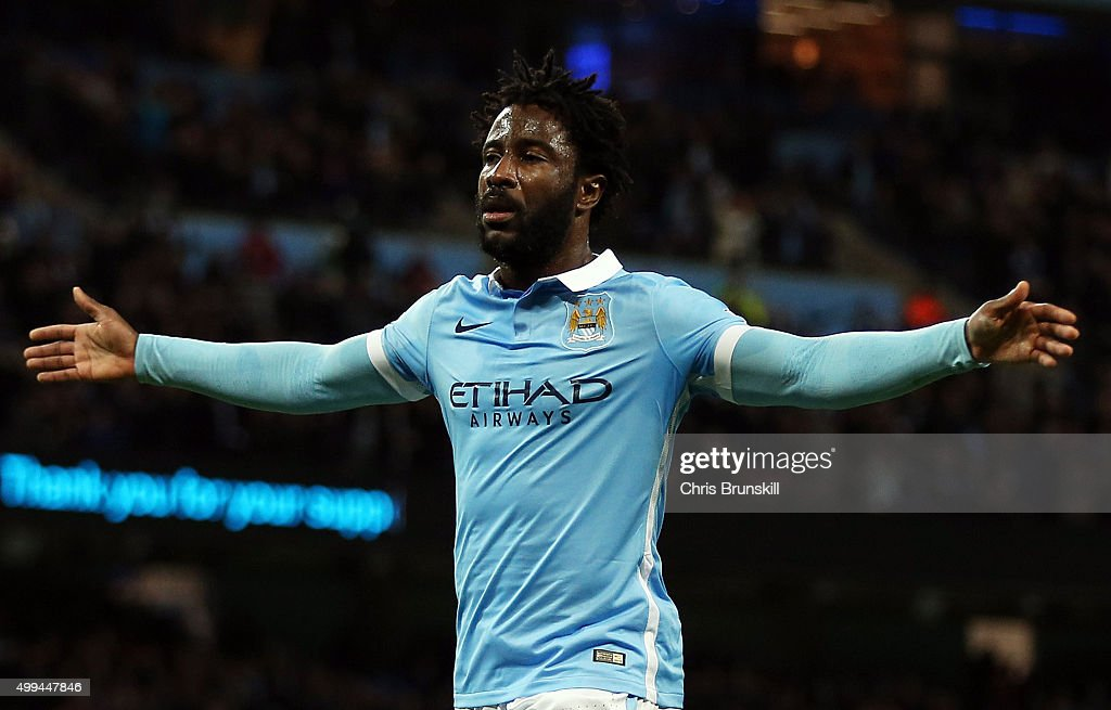 Wilfried Bony of Manchester City celebrates scoring the opening goal during the Capital One Cup Quarter Final match between Manchester City and Hull...