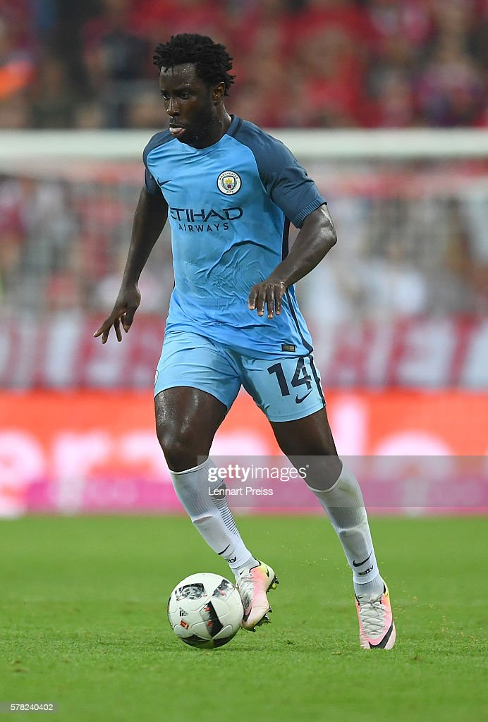 Wilfried Bony of Manchester City in action during the pre season friendly match between FC Bayern Muenchen and Manchester City FC at Allianz Arena on...