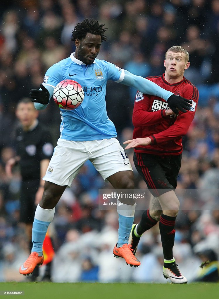 Wilfried Bony of Manchester City is challenged by James McClean of West Bromwich Albion during the Barclays Premier League match between Manchester City and West Bromwich Albion at the Etihad Stadium on April 9, 2016 in Manchester, England.