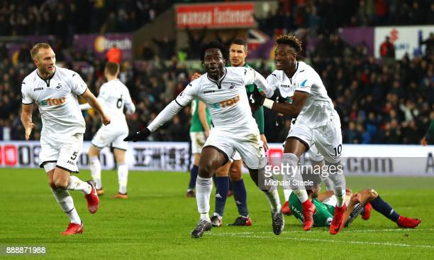 Wilfried Bony of Swansea City celebrates after scoring his sides first goal with Tammy Abraham of Swansea City during the Premier League match...