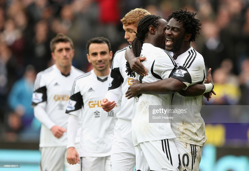 Wilfried Bony of Swansea City celebrates scoring their fourth goal during the Barclays Premier League match between Swansea City and Aston Villa at...