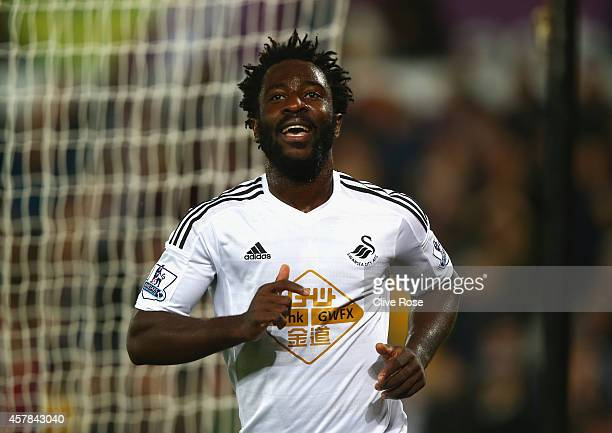 Wilfried Bony of Swansea City celebrates scoring their second goal during the Barclays Premier League match between Swansea City and Leicester City...