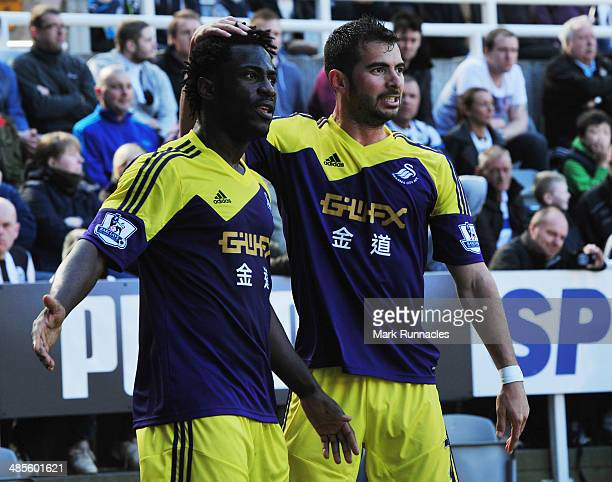 Wilfried Bony of Swansea City celebrates with Jordi Amat of Swansea City as he scores their first goal during the Barclays Premier League match...