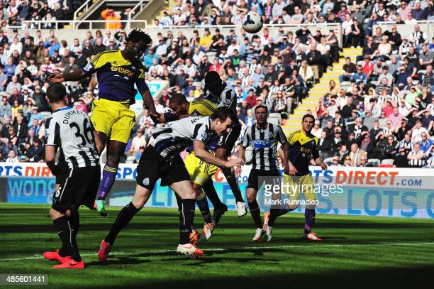 Wilfried Bony of Swansea City rises to score their first goal with a header during the Barclays Premier League match between Newcastle United and...