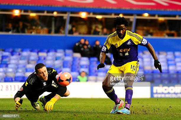 Wilfried Bony of Swansea scores his team's second goal past goalkeeper Colin Doyle of Birmingham during the FA Cup fourth round match between...