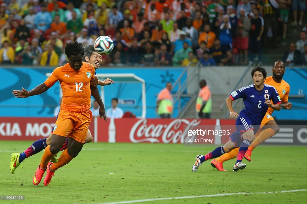 Wilfried Bony of the Ivory Coast scores on a header for his team's first goal during the 2014 FIFA World Cup Brazil Group C match between the Ivory...