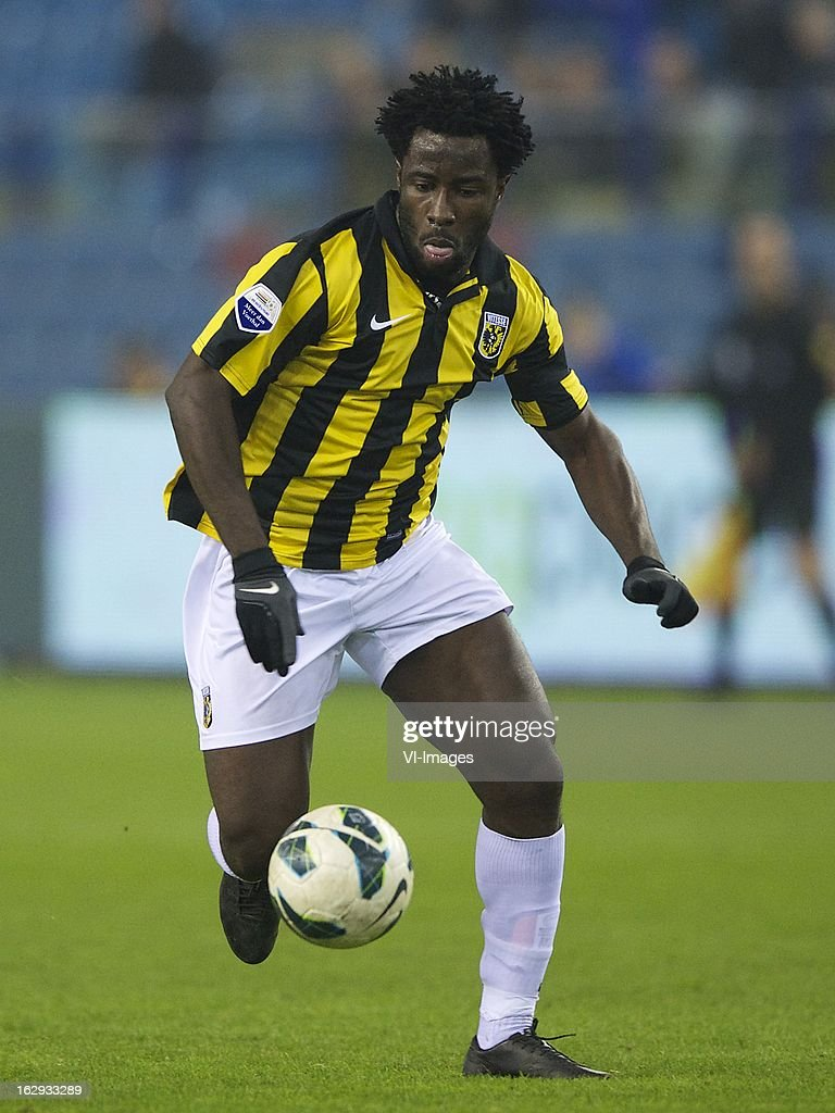 <a gi-track='captionPersonalityLinkClicked' href=/galleries/search?phrase=Wilfried+Bony&family=editorial&specificpeople=4231248 ng-click='$event.stopPropagation()'>Wilfried Bony</a> of Vitesse during the Dutch Eredivisie match between Vitesse Arnhem and FC Utrecht at the Gelredome on march 01, 2013 in Arnhem, The Netherlands