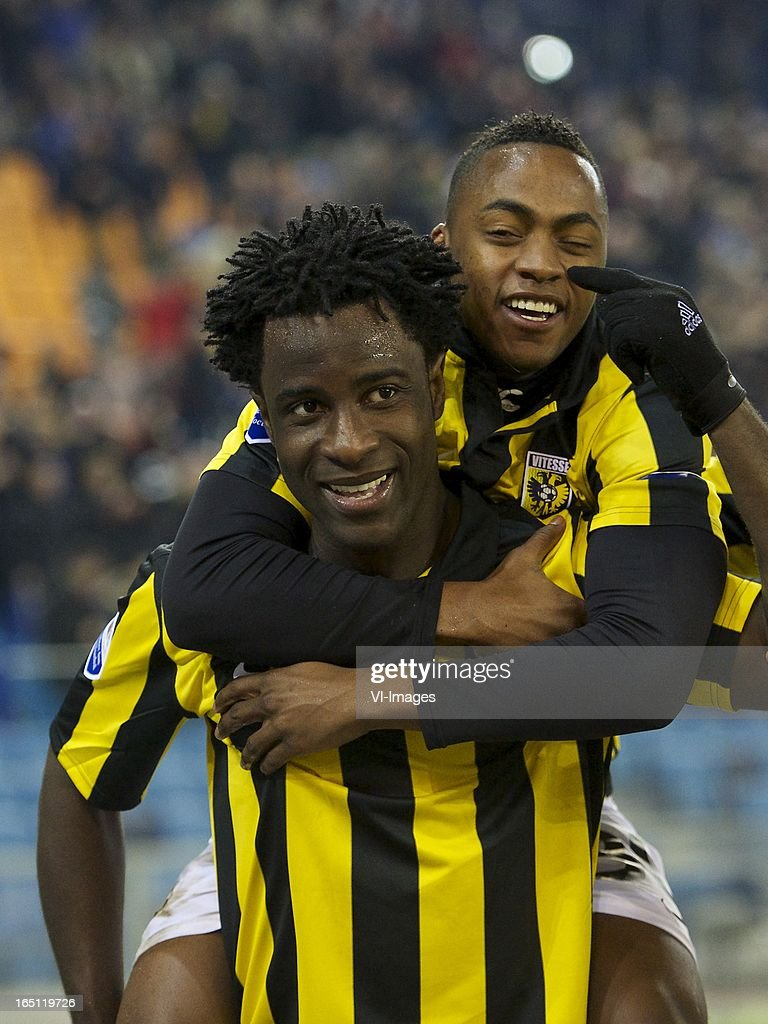 Wilfried Bony of Vitesse, Renato Ibarra of Vitesse during the Dutch Eredivisie match between Vitesse Arnhem and PEC Zwolle at the Gelredome on march 31, 2013 in Arnhem, The Netherlands