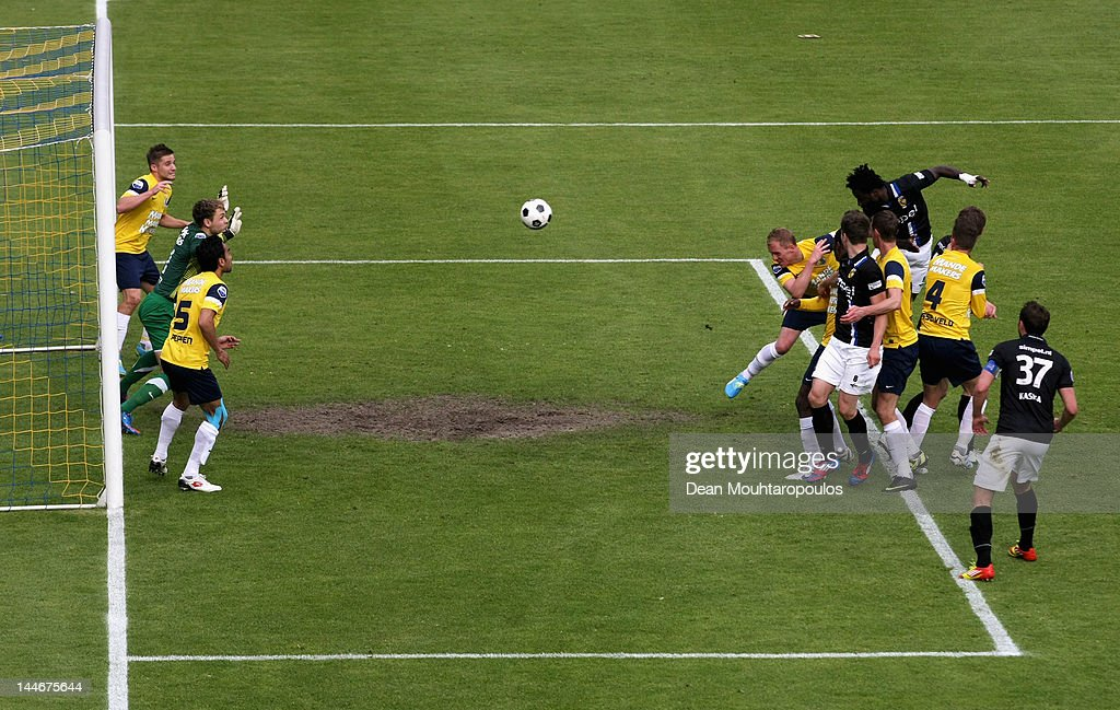 Wilfried Bony of Vitesse rises high to head the third goal of the game for his team during the Eredivisie Europa League Playoff match between RKC...