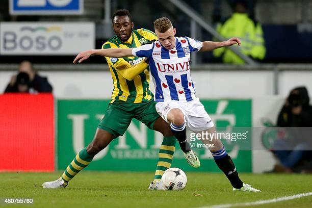 Wilfried Kanon of ADO Den Haag Daley Slinkgraven of sc Heerenveen during the Dutch Eredivisie match between sc Heerenveen and ADO Den Haag at Abe...