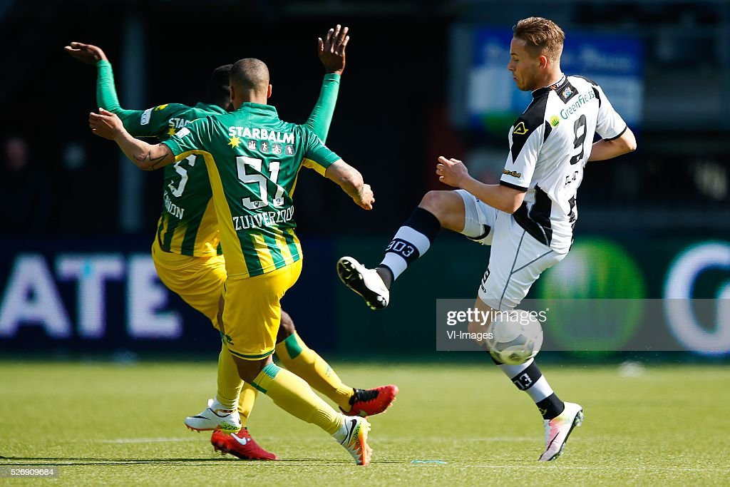 Wilfried Kanon of ADO Den Haag, Gianni Zuiverloon of ADO Den Haag, Paul Gladon of Heracles Almelo during the Dutch Eredivisie match between Heracles Almelo and ADO Den Haag at Polman stadium on May 01, 2016 in Almelo, The Netherlands