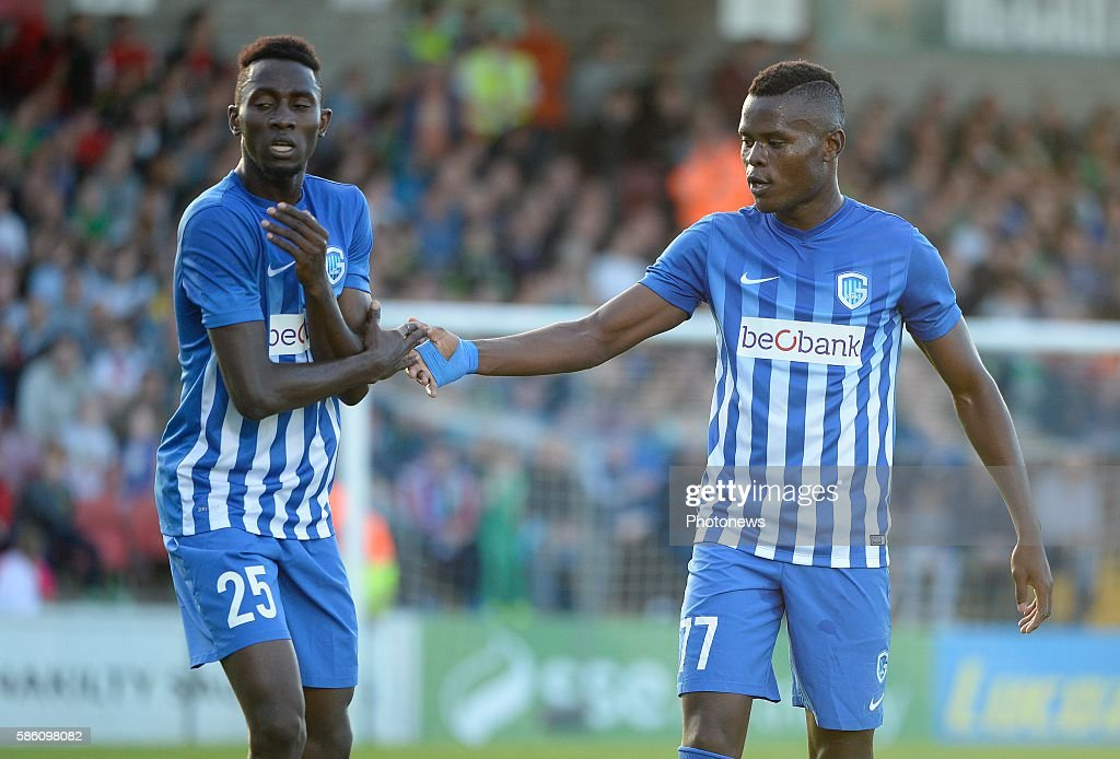 Wilfried Ndidi midfielder of Krc Genk and Mbwana Ally Samatta forward of Krc Genk celebrates with teammates after scoring pictured during UEFA Europa...