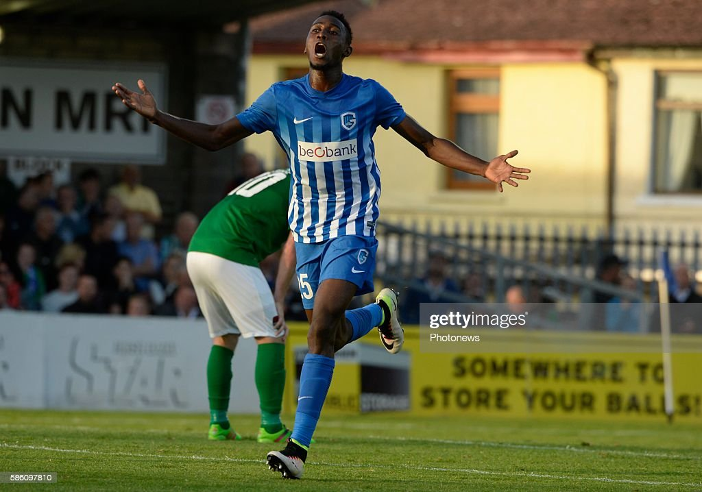 Wilfried Ndidi midfielder of Krc Genk celebrates with teammates after scoring pictured during UEFA Europa League third qualifying round 2nd Leg match...