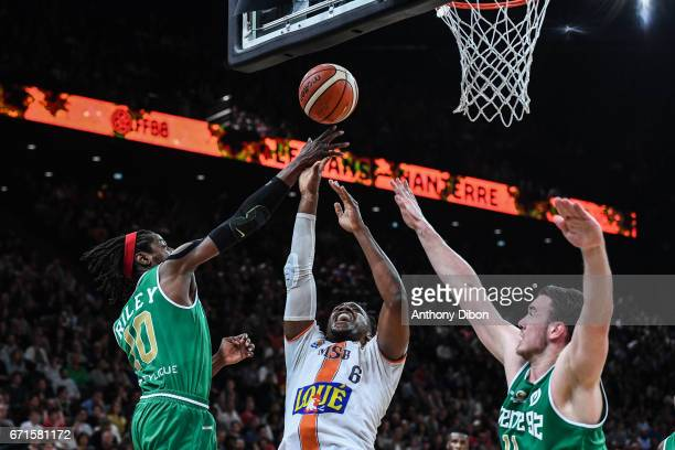 Wilfried Yeguete of Le Mans during the Final of the French Cup between Le Mans and JSF Nanterre at AccorHotels Arena on April 22 2017 in Paris France