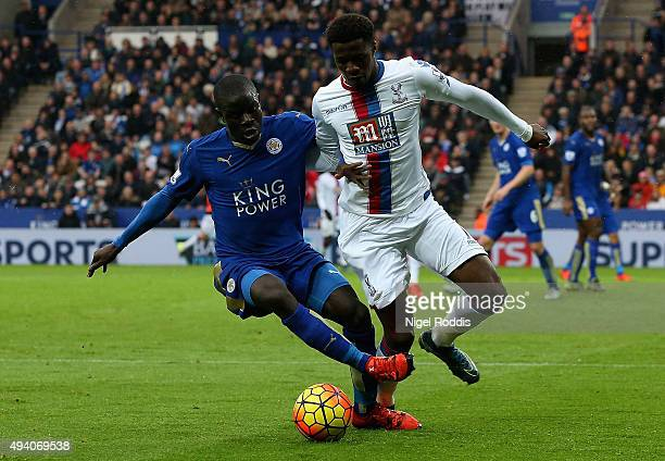 Wilfried Zaha of Crystal Palace and Ngolo Kante of Leicester City compete for the ball during the Barclays Premier League match between Leicester...