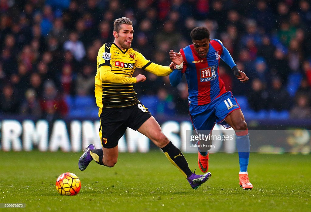 <a gi-track='captionPersonalityLinkClicked' href=/galleries/search?phrase=Wilfried+Zaha&family=editorial&specificpeople=7132531 ng-click='$event.stopPropagation()'>Wilfried Zaha</a> of Crystal Palace and Valon Berami of Watford compete for the ball during the Barclays Premier League match between Crystal Palace and Watford at Selhurst Park on February 13, 2016 in London, England.