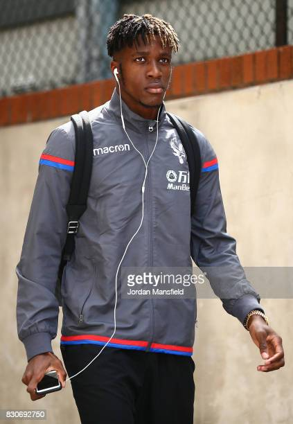 Wilfried Zaha of Crystal Palace arrives at the stadium prior to the Premier League match between Crystal Palace and Huddersfield Town at Selhurst...
