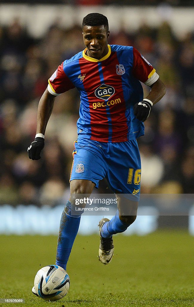 <a gi-track='captionPersonalityLinkClicked' href=/galleries/search?phrase=Wilfried+Zaha&family=editorial&specificpeople=7132531 ng-click='$event.stopPropagation()'>Wilfried Zaha</a> of Crystal Palace in action during the npower Championship match between Derby County and Crystal Palace at Pride Park Stadium on March 1, 2013 in Derby, England.