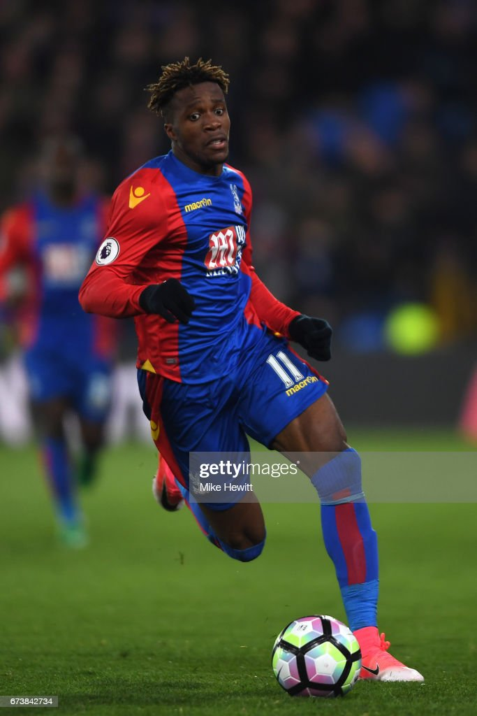 Wilfried Zaha of Crystal Palace in action during the Premier League match between Crystal Palace and Tottenham Hotspur at Selhurst Park on April 26, 2017 in London, England.
