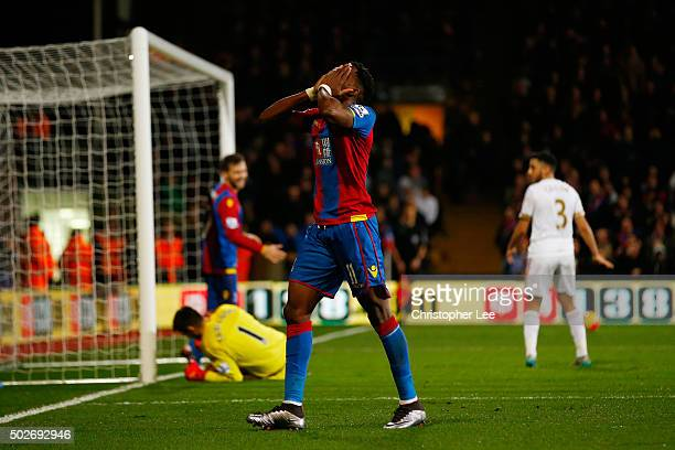Wilfried Zaha of Crystal Palace reacts after missing a chance during the Barclays Premier League match between Crystal Palace and Swansea City at...