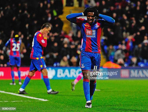 Wilfried Zaha of Crystal Palace reacts after missing a chance during the Barclays Premier League match between Crystal Palace and AFC Bournemouth at...
