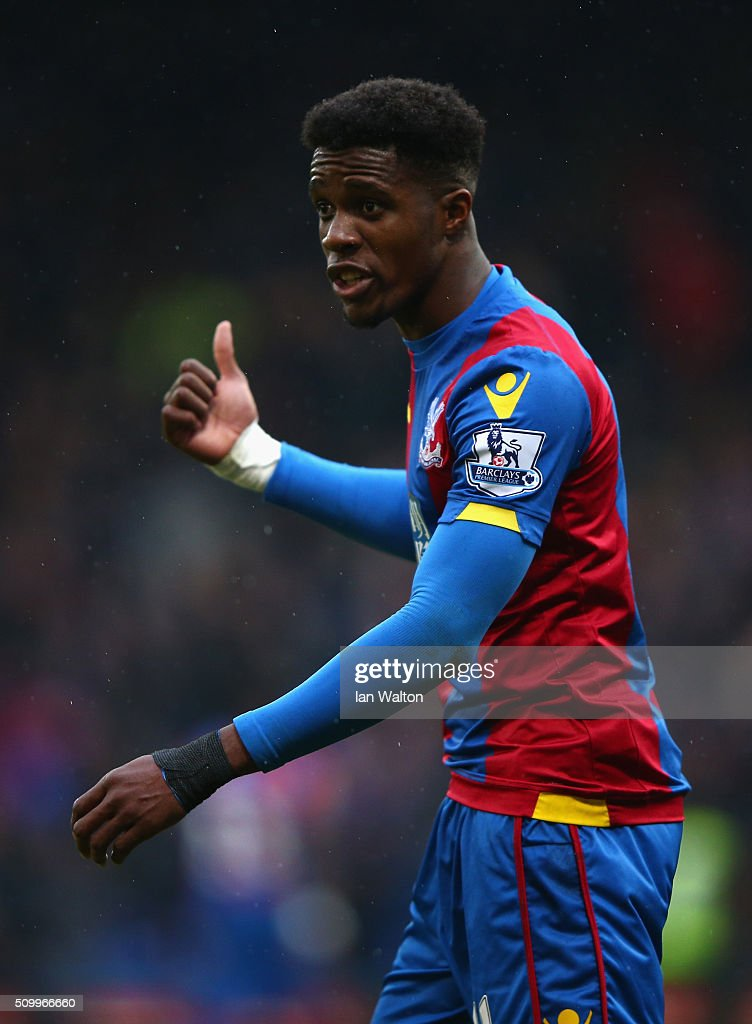 <a gi-track='captionPersonalityLinkClicked' href=/galleries/search?phrase=Wilfried+Zaha&family=editorial&specificpeople=7132531 ng-click='$event.stopPropagation()'>Wilfried Zaha</a> of Crystal Palace reacts during the Barclays Premier League match between Crystal Palace and Watford at Selhurst Park on February 13, 2016 in London, England.
