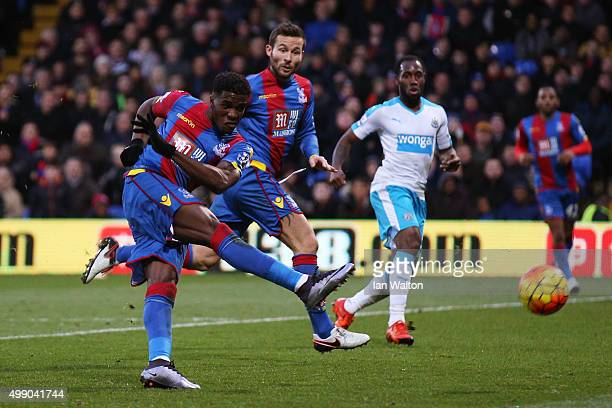 Wilfried Zaha of Crystal Palace scores his team's third goal during the Barclays Premier League match between Crystal Palace and Newcastle United at...