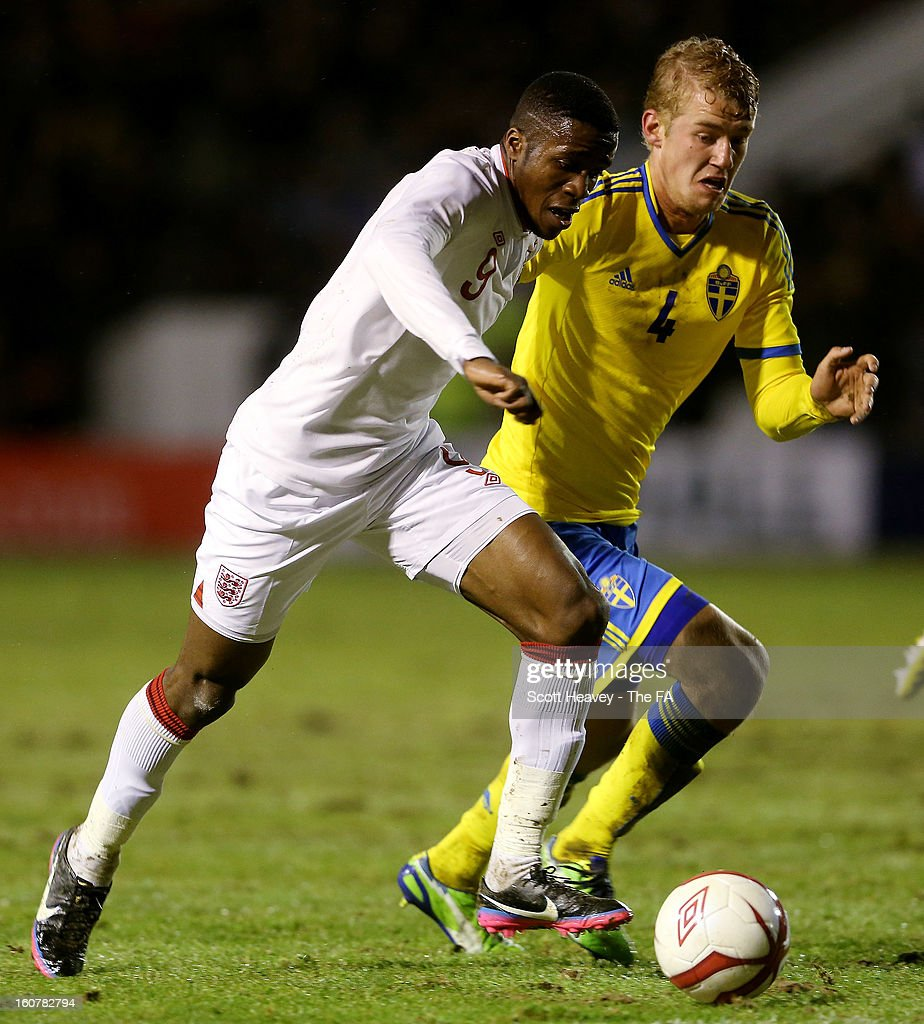 Wilfried Zaha of England during the International Match between England Under 21's and Sweden Under 21's at Banks' Stadium on February 5, 2013 in Walsall, England.