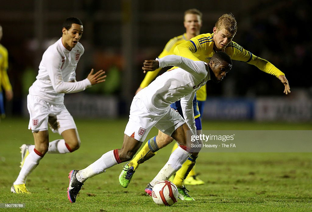 <a gi-track='captionPersonalityLinkClicked' href=/galleries/search?phrase=Wilfried+Zaha&family=editorial&specificpeople=7132531 ng-click='$event.stopPropagation()'>Wilfried Zaha</a> of England in action during the International Match between England Under 21's and Sweden Under 21's at Banks' Stadium on February 5, 2013 in Walsall, England.