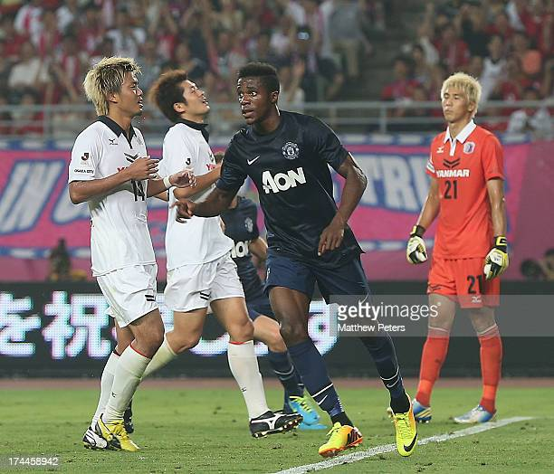 Wilfried Zaha of Manchester United celebrates scoring their second goal during the preseason friendly match between Cerezo Osaka and Manchester...