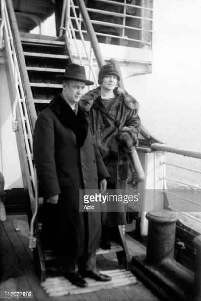 Wilhelm Furtwangler german conductor and composer here with his wife Zitla Lund aboard a liner c 1925