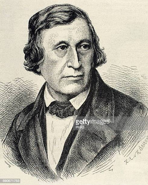 Wilhelm Grimm German author the younger of the Brothers Grimm Portrait Engraving