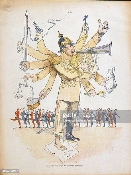 Wilhelm II Emperor of Germany depicted as a one man orchestra conducting the affairs of Europe Cartoon from 'Le Rire' Paris