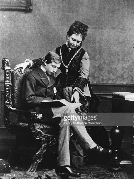 Wilhelm II third Emperor of Germany from 1888 1918 and ninth king of Prussia with his mother the Empress Victoria daughter of Queen Victoria of Great...