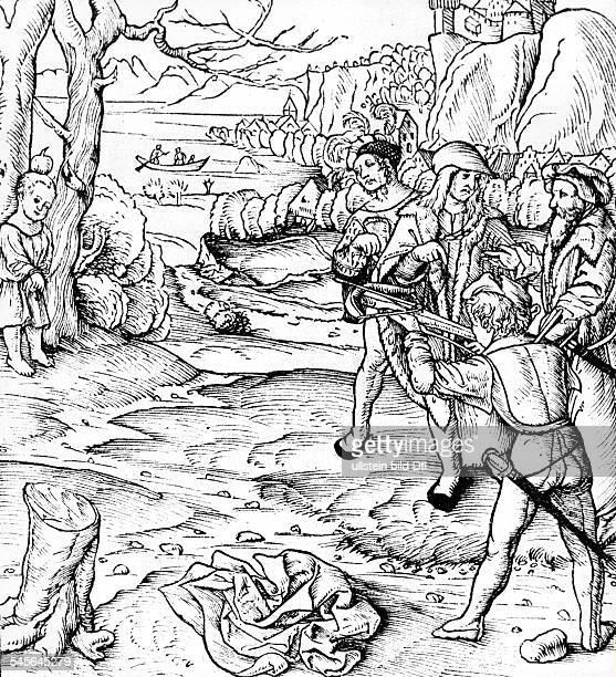 Wilhelm Tell Held der Schweizer Befreiungssage Der Apfelschuss Holzschnitt einer Schweizer Chronik von 1507