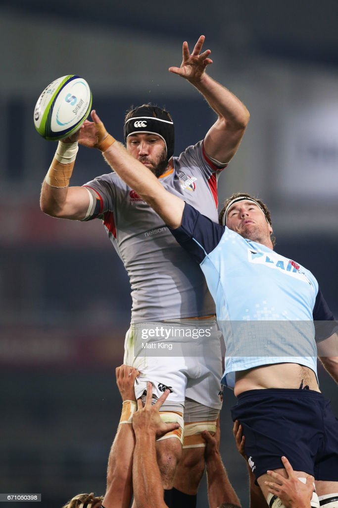 Wilhelm van der Sluys of the Kings jumps at the lineout next to David McDuling of the Waratahs during the round nine Super Rugby match between the Waratahs and the Kings at Allianz Stadium on April 21, 2017 in Sydney, Australia.