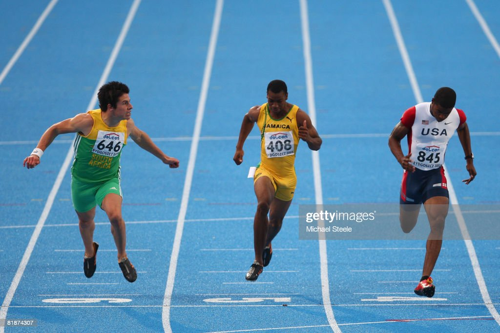 Wilhelm Van Der Vyver (left) of South Africa finishes in second place in the men's 100m final from fourth place <a gi-track='captionPersonalityLinkClicked' href=/galleries/search?phrase=Yohan+Blake&family=editorial&specificpeople=2172755 ng-click='$event.stopPropagation()'>Yohan Blake</a> (centre) of Jamaica and bronze medallist Terrell Wilks (right) of USA during day two of the 12th IAAF World Junior Championships at the Zawisza Stadium on July 9, 2008 in Bydgoszcz, Poland.