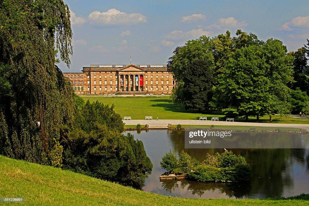 Wilhelmshöhe Palace park pond water reflection Kassel Hesse Germany Wilhelmshöhe Palace above the city was built in 1786 by landgrave Wilhelm IX of...