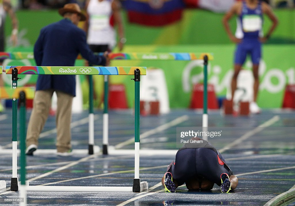 Wilhem Belocian of France reacts after a false start that resulted in his disqualification in round one of the Men's 110m Hurdles on Day 10 of the...