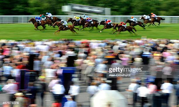 Wiliam Buick riding Safety Check win The Tatler Stakes at Goodwood racecourse on July 31 2014 in Chichester England
