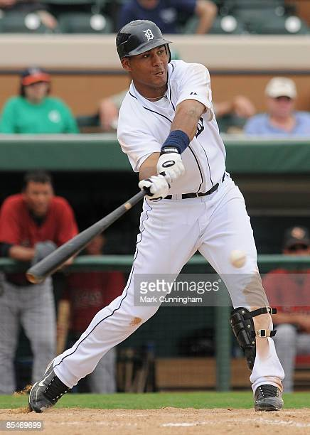 Wilkin Ramirez of the Detroit Tigers bats against the Houston Astros during the spring training game at Joker Marchant Stadium on March 17 2009 in...