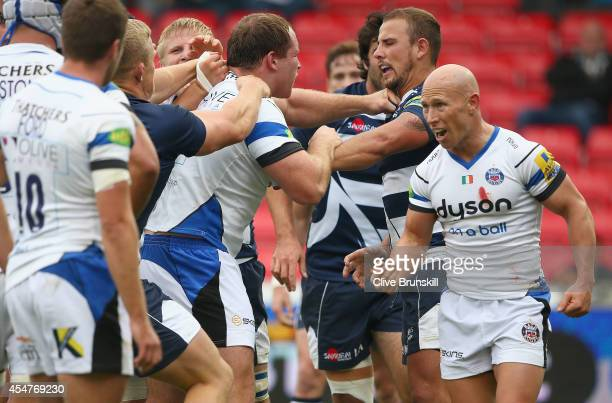 Will Addison of Sale Sharks involved in an on pitch brawl during the Aviva Premiership match between Sale Sharks and Bath Rugby at the AJ Bell...