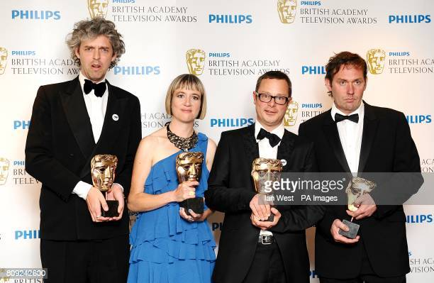 Will Anderson Frankie Fathers Hugh FearnleyWhittingstall and Andrew Palmer with the Features award at the Philips British Academy Television Awards...