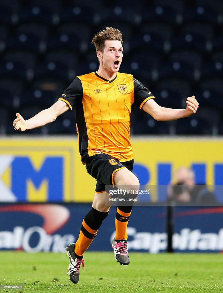 Will Annan of Hull City celebrates his goal during the Second Leg of the Premier League U21 Cup Final at the KC Stadium on May 04, 2016 in Hull, England.