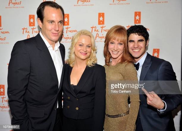 Will Arnett Amy Poehler Kathy Griffin and Darren Criss pose for a picture at The Trevor Projects annual 'Trevor LIVE' held at The Hollywood Palladium...